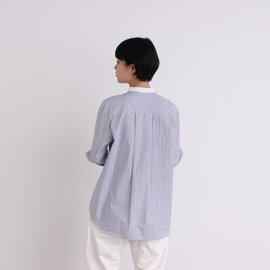 yuni|コットンストライプ クレリックバンドカラーシャツ 1701BL005191