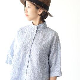 【限定カラーも登場】SETTO リネンオッカケシャツスタンドカラーシャツ LINEN OKKAKE SHIRT・STL-SH016L セット