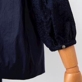utilite|サークル刺繍 フリルスタンドカラーブラウス