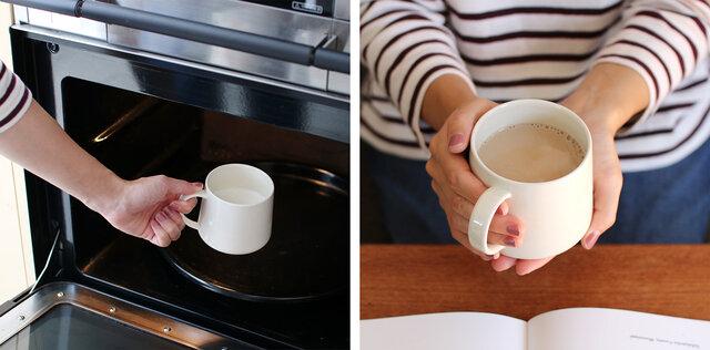 電子レンジでミルクを温めて、水だしコーヒーを注ぐだけ!あっという間に、風味豊かなホットカフェオレの出来上がり!
