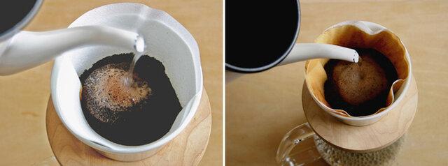 -Point- ・粉の中心に向かって、粉の膨らみを保つように、注いでは休んでをくり返します。じっくりじっくり。 ・後半は、少し速く。 ※入れたい分量までコーヒーがはいったら、ドリッパーの中にお湯が入っている状態で(最後にエグ味が残っているので、)ドリッパーをサーバーから外します。