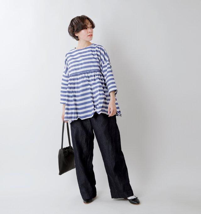 model saku:163cm / 43kg  color : blue border / size : F