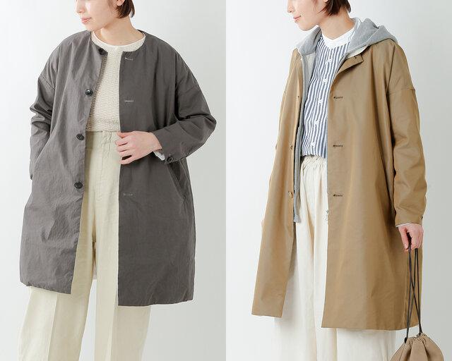 定番のサクラコートはやや短めの丈ですが、裾丈を6cm長くとり、絶妙な丈感に仕上げました。 少し丈が長くなるだけで、ほんのり大人な雰囲気。より着まわせるコートになりますね。