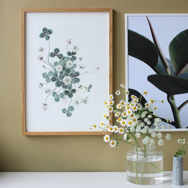 シンプルなボタニカルデザインのポスター。 本物の植物のお手入れは手間がかかるけれど、これなら気にせずに飾れるかも?