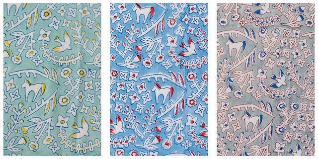 ひかりのカケラ 集めて浮かぶ いろんなカタチ (左:グリーン 中央:ブルー 右:グレー)