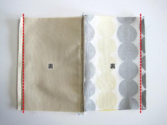 (11)表地と裏地をそれぞれ中表にし、点線の部分を縫い合わせます。 ※縫い代をアイロンで割っておくと、仕上がりが綺麗になります。