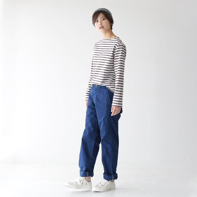 モデル:160cm / 43kg color : ink blue(col.03) / size : 0(XS) ------------------- ▼モデル着用感 普段着用サイズ: <TOPS>Sサイズ / <BOTTOMS>Sサイズ ちょうど良いサイズ感です。裾をロールアップした着こなしも可愛いです。