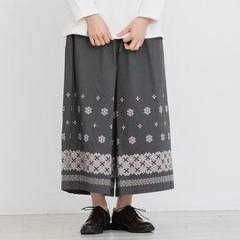 TUTIE.|コットンクロスステッチ刺繍ワイドパンツ