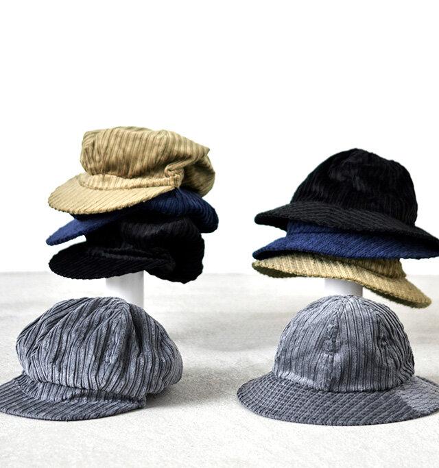 コーデュロイで有名な英国の老舗ファブリックメーカー Brisbanemoss社の生地を使用した帽子を、キャスケットとハットの2種類ご用意しております。