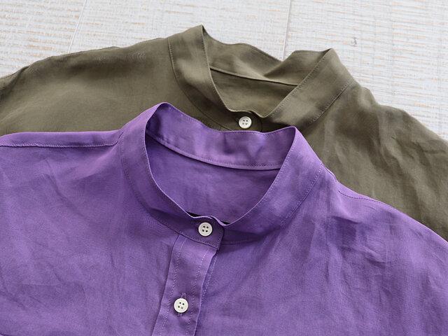 ゆったりとしたシルエットのスタンドカラーシャツ。カラーは、カーキ、ラベンダーの2種類をご用意。