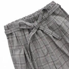 TRAVAIL MANUEL|【saro別注】 チェック柄・リボン付き2タックパンツ - Special Order